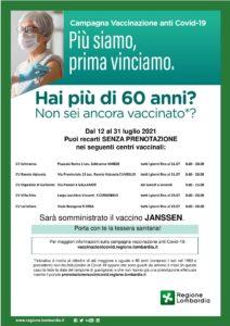 Campagna Vaccinale Anticovid 19, per Cittadini di età maggiore di 60 Anni